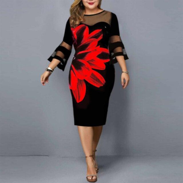 floral dress mesh neck and sleeves knee hi 4