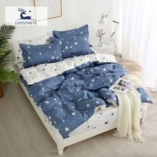 Liv-Esthete Star Bedding Set Soft Duvet Cover Pillowcase Queen King Bed Linen Bedspread Flat Sheet Double Home Decor Bedroom
