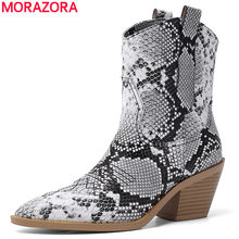 2020 Plus size 34-46 new ankle boots square high heels snake printed pointed toe autumn winter shoes woman cowboy western boots(China)