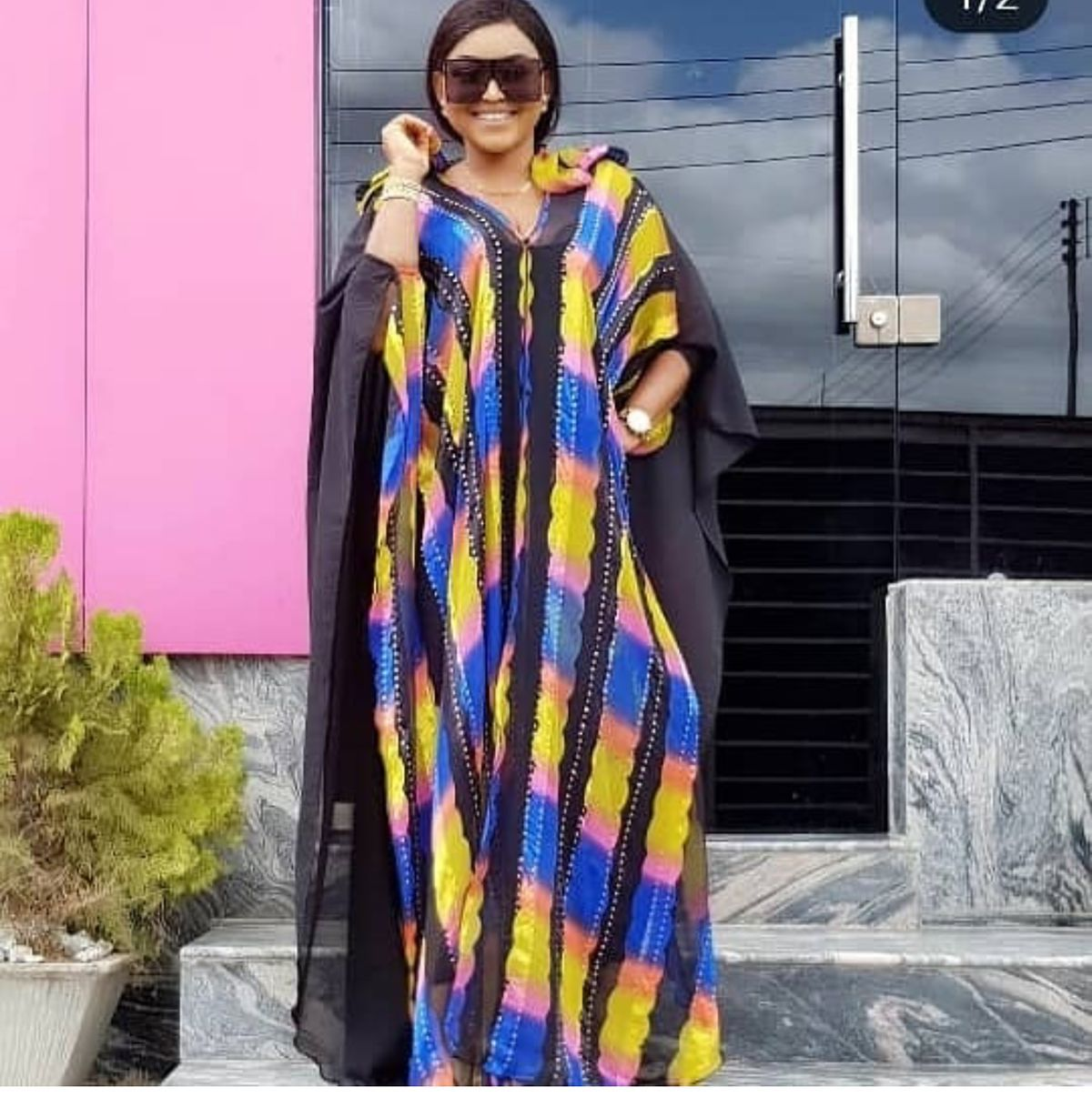 Plus Size Loose Sequin Party Dress 2019 Summer Batwing Sleeve V Neck Casual Fashion Long Maxi Dress Robe Femme High Quality(China)