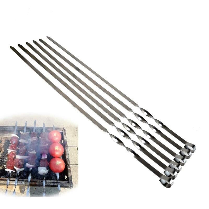 6 шт. длинный шашлык Шашлык Из Нержавеющей Стали Shish палочки для кебаба принадлежности для барбекю гриль набор широкий шашлык инструмент 3 размера