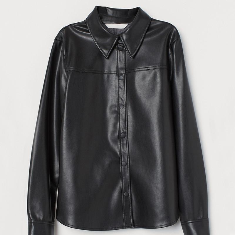 Buona Notte Winter Temperament Business Blouses Women Fashion PU Leather Shirts Women Elegant Long Sleeve Tops Female Ladies JI
