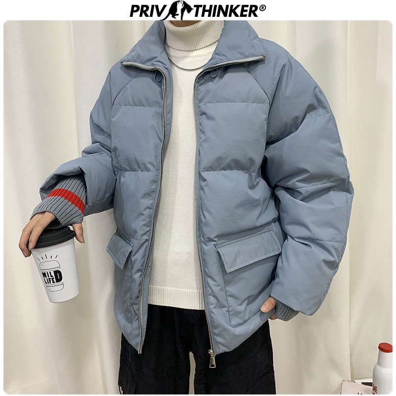Privathinker 2019 Winter Men Short Thick Parkas Jacket Male Fashion Loose Warm Coat Male Streetwear Korean M-5XL Solid Clothing