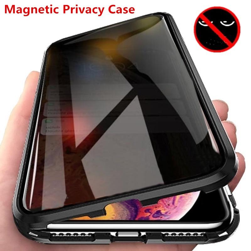 Privatsphäre Metall Magnetische Gehärtetes Glas Telefon Fall Für Iphone 11 XR XS MAX X 6 6s 8 7 Plus 360 Magnet Antispy Schutz Abdeckung