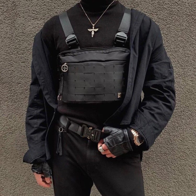 Streetwear Chest Rig Bag Unisex Functional Tactics Chest Bags Adjustable Harajuku Style Hip Hop Bag Men Tooling Vest Chest Pack
