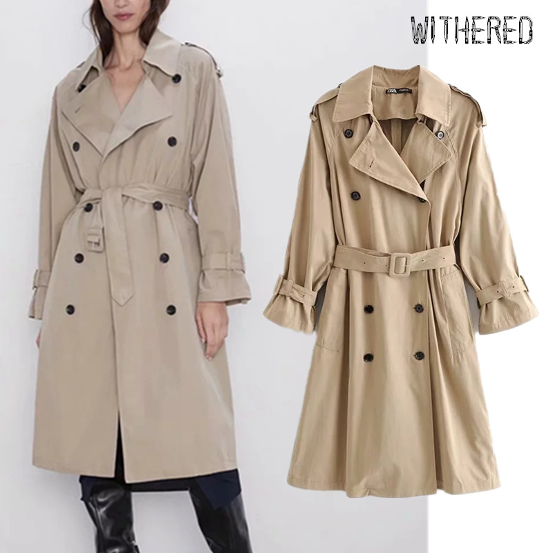 Withered winter   trench   coat women england vintage elegant double breasted loose sashes loose overcoat women long coat plus size