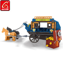AUSINI 348PCS Horse Carriage Knight Figure Building Blocks Creator Toys for Children Cowboy Dispute Model Bricks Kids Playthings
