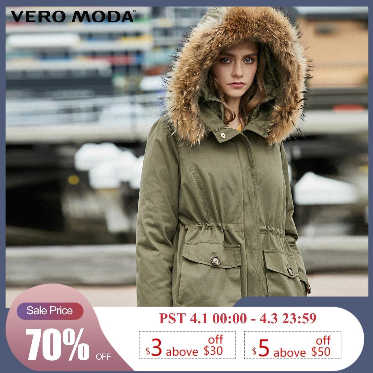Vero Moda Detachable Lining Fur Collar Parkas Coat Down Jacket | 319423517