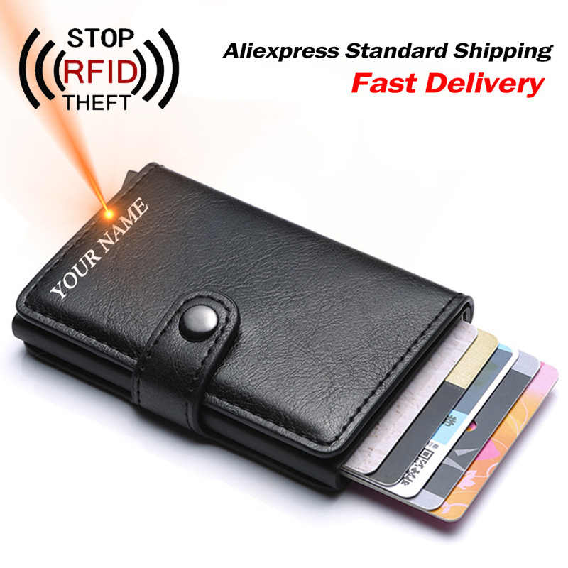 Mannen Credit Card Holder Rfid Blocking Mannen Portemonnee Automatische Hasp Man Purse Pu Lederen Bank Portefeuilles Business Id-kaart houder