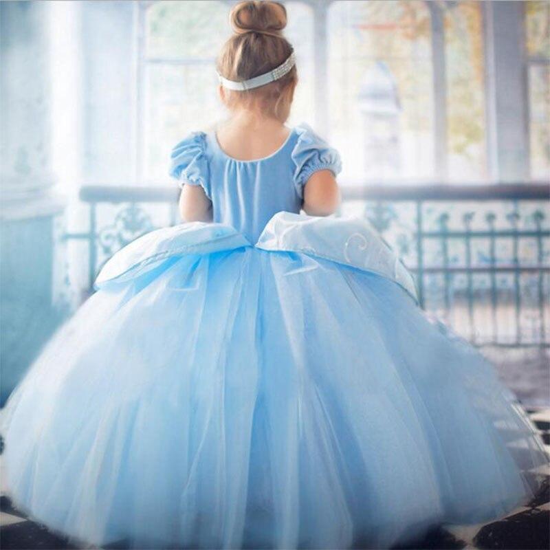 2020 cinderela vestir-se trajes cosplay crianças rendas bordado azul roupas criança natal aniversário vestidos de princesa festa