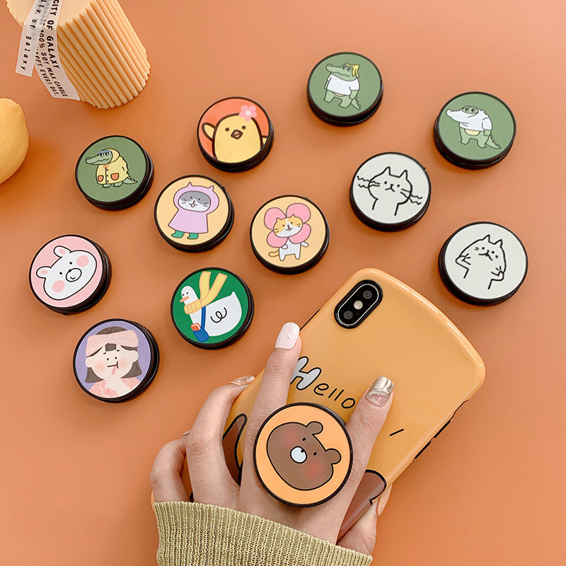 Funny Cartoon Folding Stand For Mobile Phone Holder For Huawei For Iphone XS 7 Plus Phone Case Cute Universal Grip Kichstand