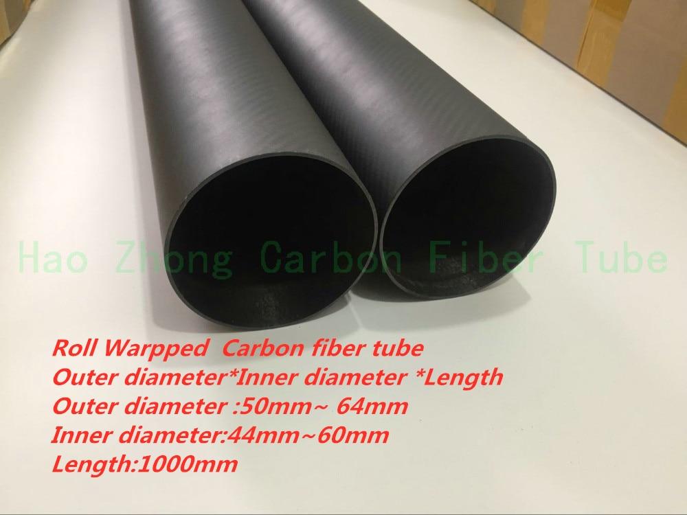 Tube en Fiber de carbone 3k OD48 50 55 60 64mm X 1000mm (enroulé) poids léger, haute résistance, haute résistance à la Corrosion et qualité