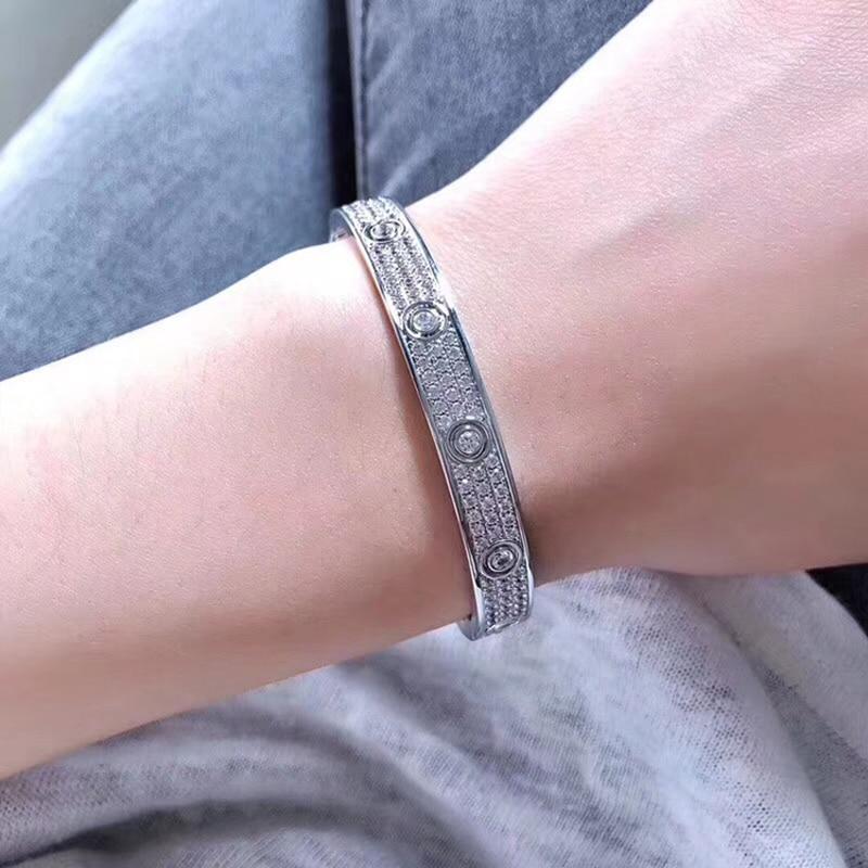 Horizontal Screw Cubic Zirconia Micro Paved Full Stone Screw Bracelets Love Bangles Men Women Bracelet Femme Free Shipping