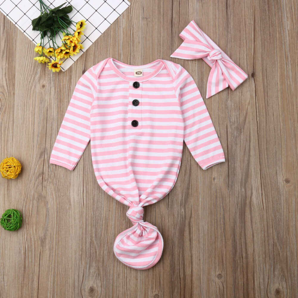 Newborn Baby Sleeping Gown Floral Knotted Cotton Sleepwear Unisex Long Sleeve Nightgowns /& Headband Set