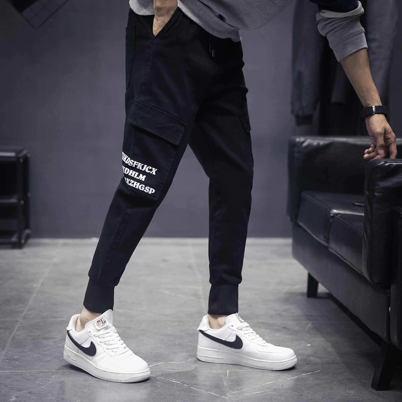 MEN'S Casual Pants Skinny Loose Bib Overall Harem Pants City Youth Versatile Outdoor Skinny Multi-pockets Men'S Wear