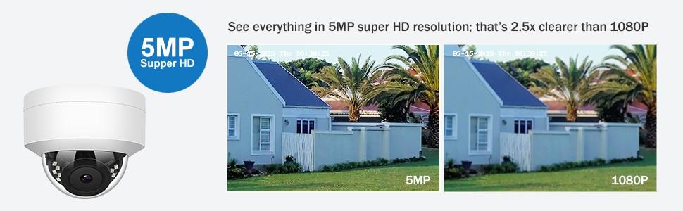 H4887b8457b3a4be69c42e987fc9a15625 5MP POE IP Camera with Microphone, Audio, IP Security Dome Camera outdoor IP66 Indoor Outdoor ONVIF Compatible Hikvision