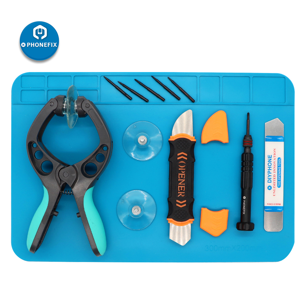 PHONEFIX Cell Phone Disassembly Repair Tool Kit Remove Screen Tablet PC With Anti-static Mat Pliers Precision Screwdriver Set