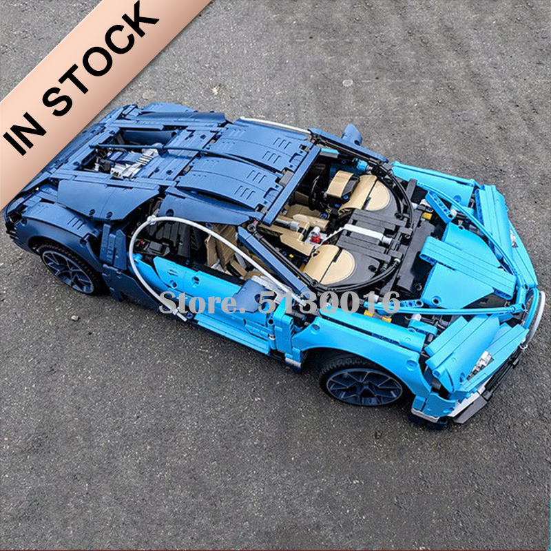 In Stock 20086 42083 Bugattied Chiron Blue Building Blocks Technic Series 3500+Pcs Bricks Race Car Kit Engine Sports 20097 42096
