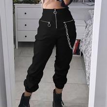 Gótico harajuku cremallera streetwear mujeres casual harem pantalones con cadena sólido negro pantalón cool moda hip hop pantalones largos capris