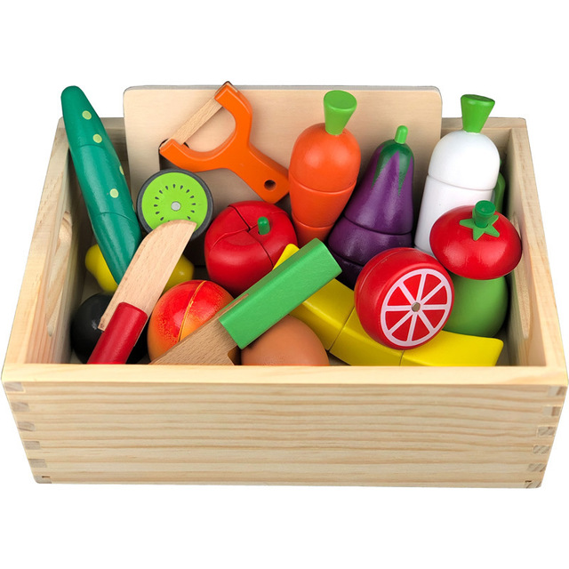 Big set Wooden simulation carrot kitchen series cut fruits and vegetables barbecue children's educational play house toys