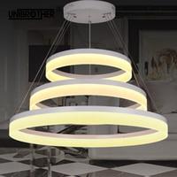 Ring pendant lamp Nordic restaurant Bar restaurant lighting LED circle hanging lamp Stepless dimming steel wire fashion