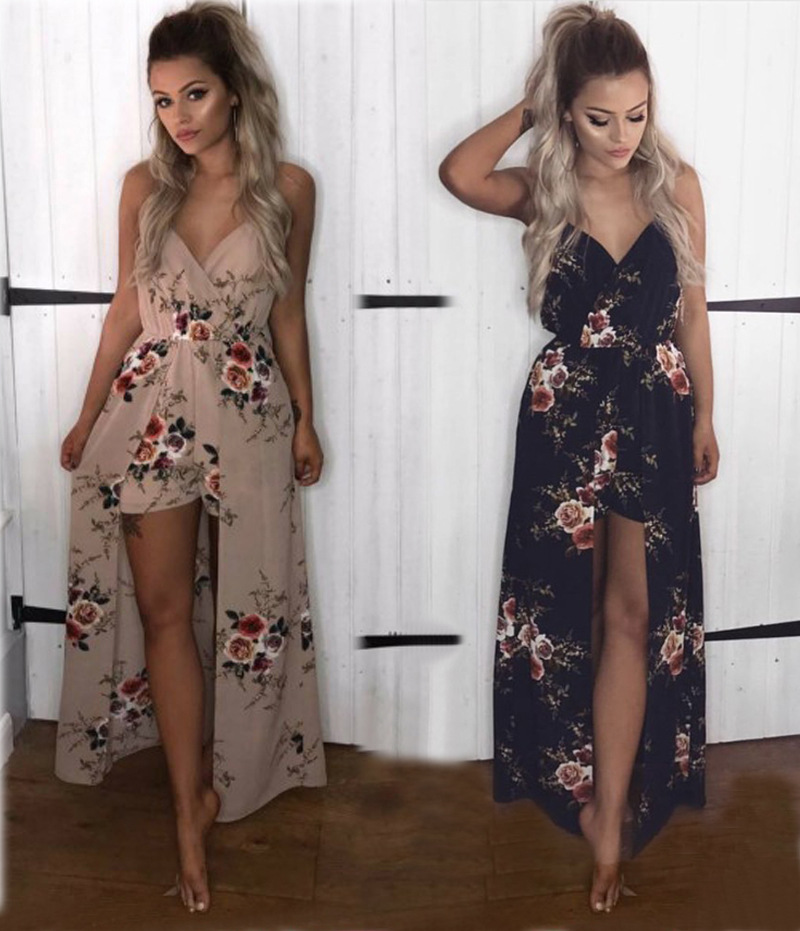 Long Dress For Guest Wedding Party Burgundy Bridesmaid Elegant Printing Low V-neck Slings Jumpsuit Shorts Sexy Prom Vestido