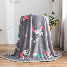 Hot Sale Gray Dumbo Elephant Blanket Super Soft Flannel Flatsheet Sleeping Covers for Baby Children's Bedspread Twin Queen King