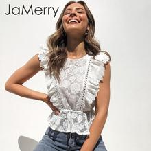 JaMerry White lace embroidery women tank tops Ruffled hollow out o neck peplum tops female summer style Streetwear ladies tops