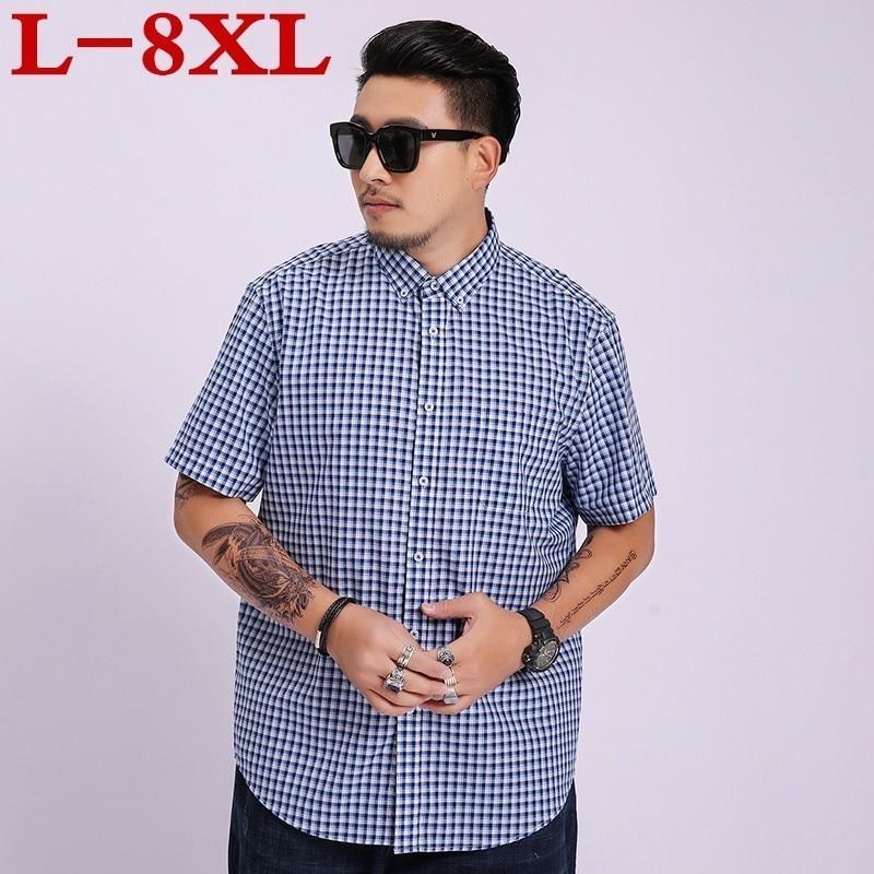 Plus Size 8XL 7XL Men Fashion Slim Fit Casual Plaid  Shirt Men Dress Shirts Short Sleeve Social Mens Shirt Striped Chemise Homme