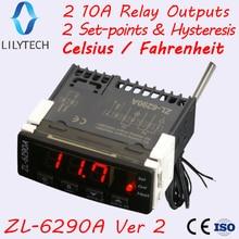 ZL-6290A, по Цельсию по Фаренгейту, опция, аналогичная STC-1000, ITC-1000; Двойные Выходы 10А, термостат, STC 1000