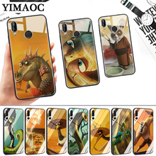Kung Fu Panda Cartoon Glass Case for Huawei P10 P20 P30 Lite Pro P Smart Y6 Prime Y93 Mate 20