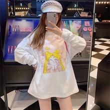 Япония футболка аниме Cardcaptor Sakura прозрачная карта Сакура КИНОМОТО длинный рукав унисекс Мужские и женские осенние Футболки Уличная Женская