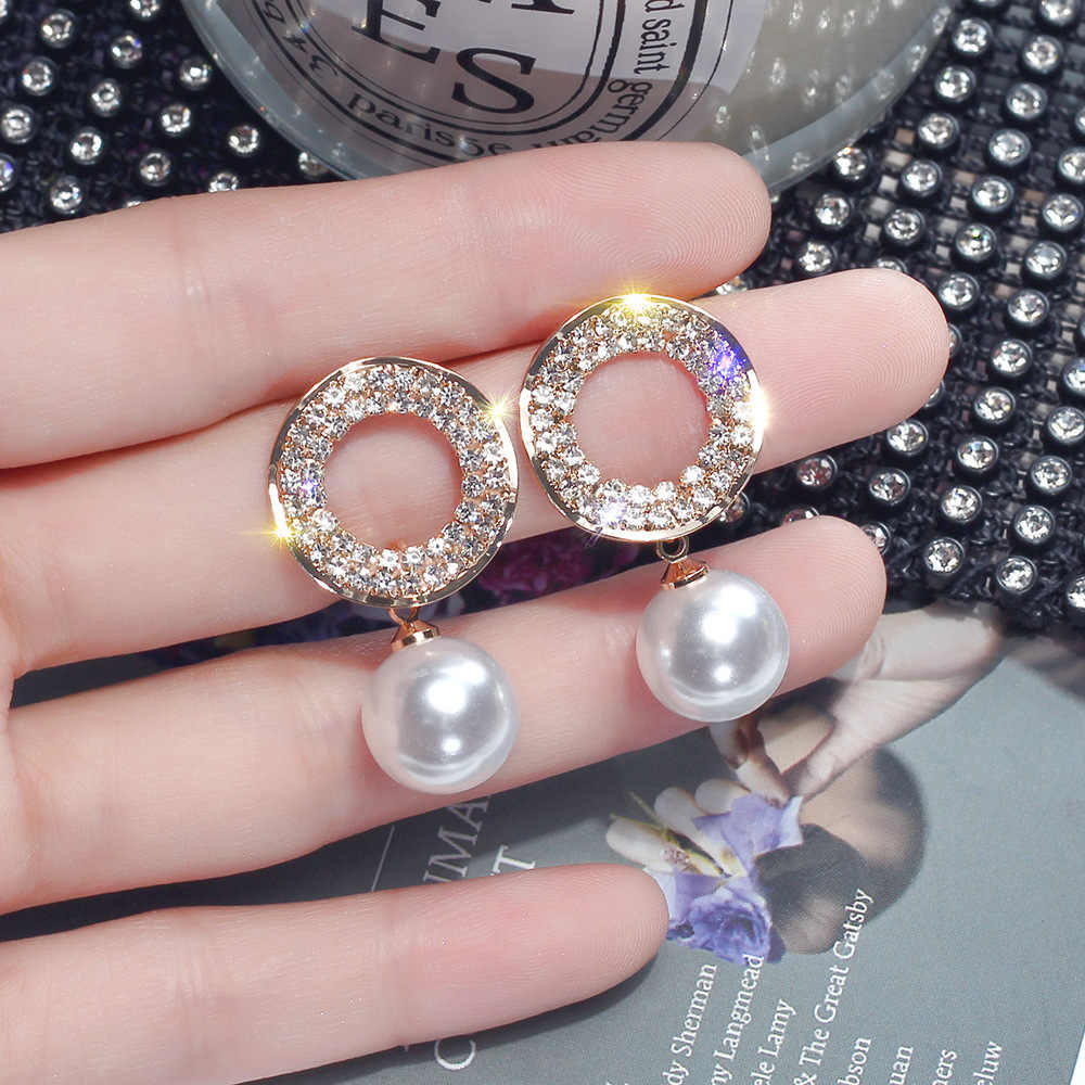 2019 nouveau mode bijoux élégant blanc perle boucles d'oreilles ronde pleine de cristal mariage fête boucles d'oreilles pour les filles cadeau pour femme