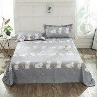 3pcs/set Cartoon Cat Gray Bedspreads Bed Covers Sheet Pillowcase Earthing Bedding Flat Sheet 100% Cotton Sleeping Bed Sheets
