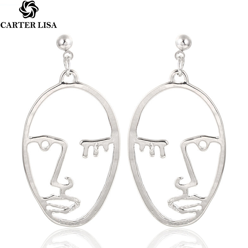 CARTER LISA Gold Sliver Face Earring Stud Punk Hyperbole Hollow Designer European And American Style Earring Jewelry Wholesale