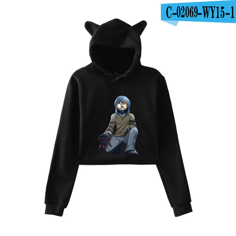 unique horror atmosphere of black humor creepypasta  print fashion trend Cat ears Top Women Hoodies Sweatshirt Sexy clothes 5