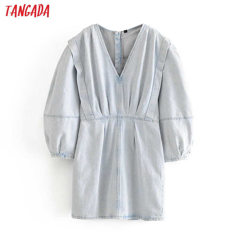 Tangada Fashion Women Denim Mini Dress V Neck Puff Long Sleeve Ladies Vintage Short Dress Vestidos 3H360