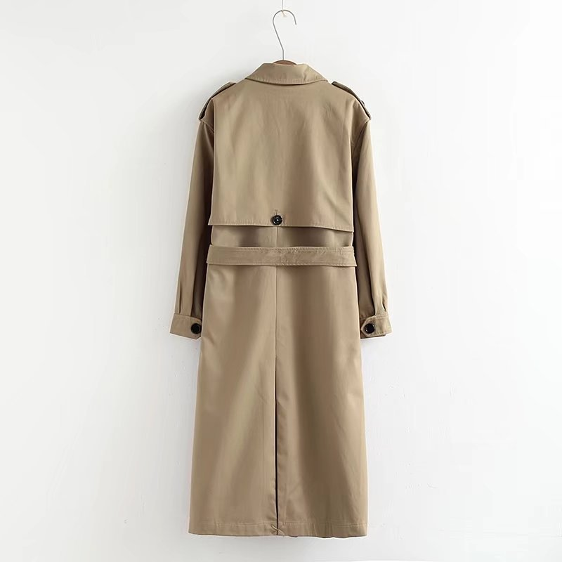 Spring Autumn Trench coat for Womens Classic Double Breasted Belt Long Trench Lady Elegant Casual Business coats High quality in Trench from Women 39 s Clothing