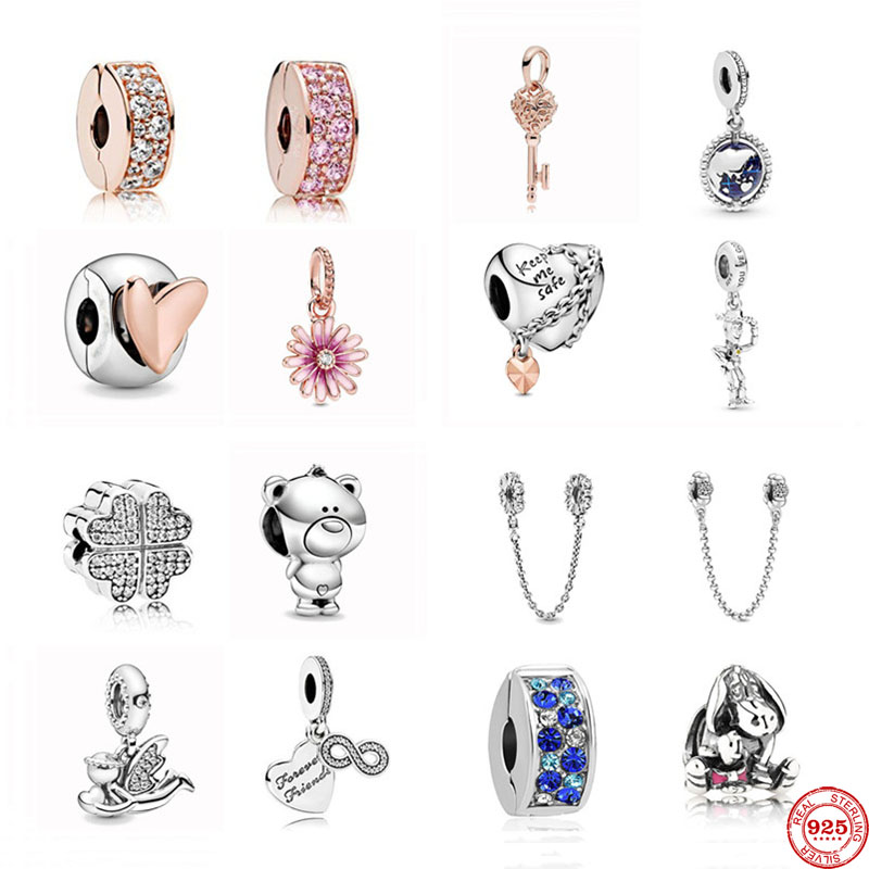 NAmour original clover clip rose gold white pink clip daisy diy bead Fit Original Pandora Charms silver 925 Bracelet Jewelry(China)