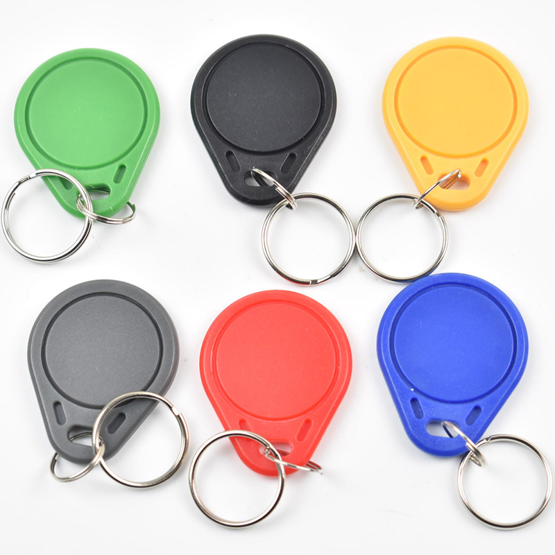 100pcs 13.56MHz IC M1 S50 Keyfobs Tags Access Control RFID Key Finder Card Token Attendance Management Keychain ABS Waterproof