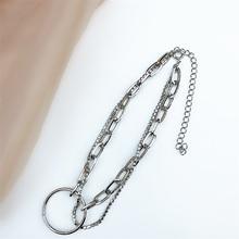 South Korea new simple wild temperament Silver necklace female clavicle chain super flash rhinestone personality