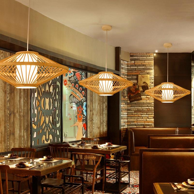 Cinese di Bambù Lampade a sospensione Creativo di Legno Vintage Complementi Arredo Casa Cucina Lustro Lampade a sospensione Ristorante Loft Appendere Le Luci - 4