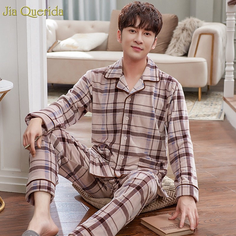 Men Fleece Pyjamas Mens Sleepwear Winter Warm Pajamas Sleeping Suits For Men Brown Plaid Quality Island Velvet Plus Size Pyjama