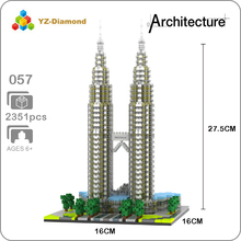 The World Famous Architecture Kuala Lampur Petronas Tower 3D Model Mini Diamond Building Small Blocks Toy for Children No Box