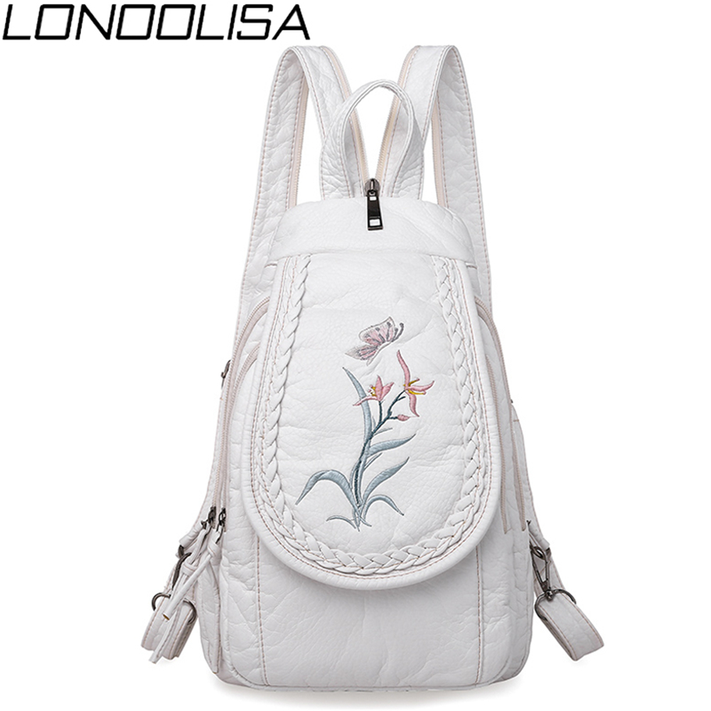 Fashion Orchid Embroidery Small Backpack Female 3 In 1 Backpack High Quality Soft Washed Leather Chest Bags For Women Sac A Dos