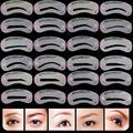BearPaw 24Pcs Stile set Pro Wiederverwendbare Augenbraue Schablonen Mode Augenbraue Gestaltung Schablonen Pflege Kit Make Up Shaper Vorlage Werkzeug|Augenbrauen-Schablonen|   -