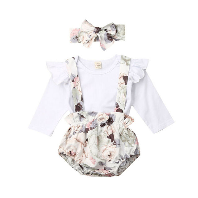 0-24M   Infant Baby Girl Clothes Long Sleeve Tops Romper+Flower Bib Shorts Outfit Set
