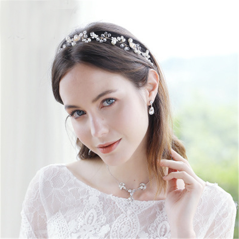 Hot Pearl Bridal Flower Jewelry Wedding Accessories Ribbon Bridal Hair Clip Bride Comb Headdress Handmade Girls Circle Headpiece