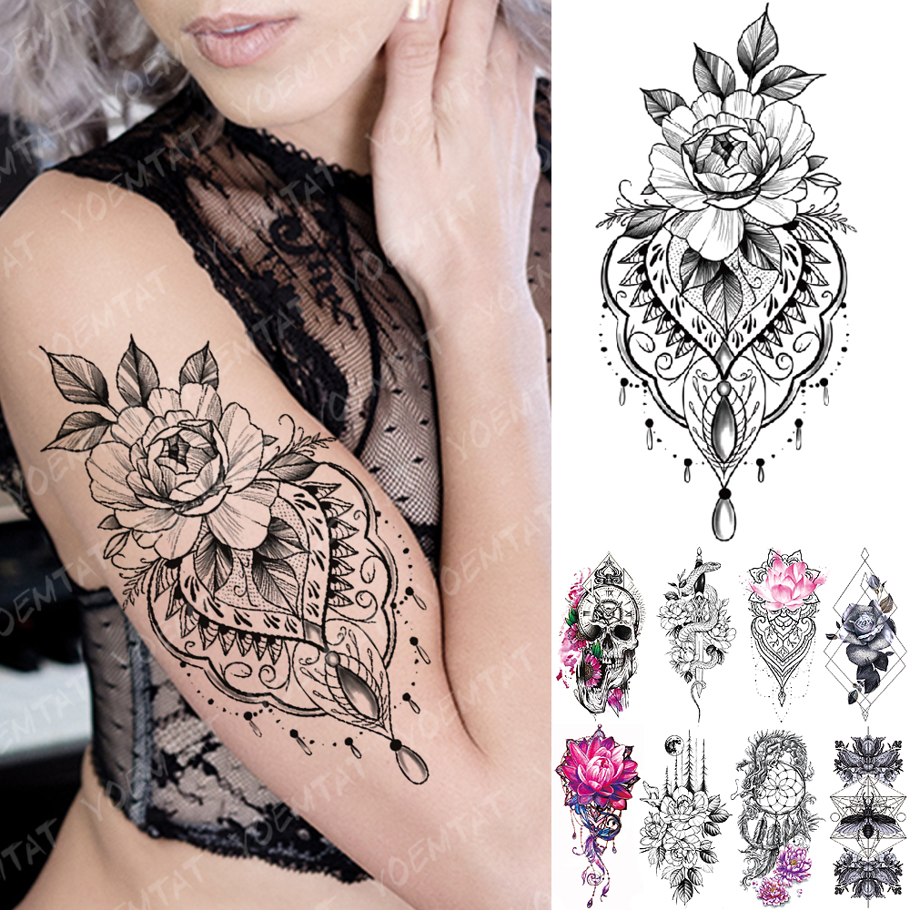 Waterproof Temporary Tattoo Sticker Lace Rose Flowers Lotus Flash Tattoos Wolf Moon Snake Body Art Arm Fake Sleeve Tatoo Women
