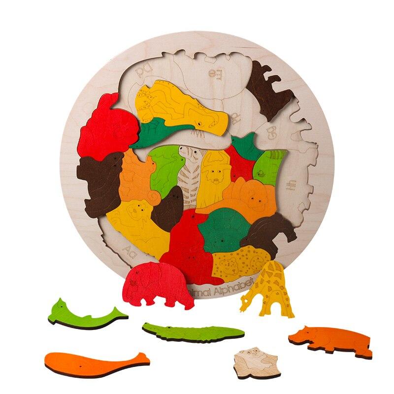 Heißer verkauf Super Große Tier Puzzles Holz Spielzeug 3D Puzzle Jigsaw für Kinder Baby Cartoon Tier Puzzles Frühen Pädagogisches Spielzeug - 4